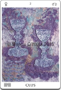 purple cutout paper tarot card two cups