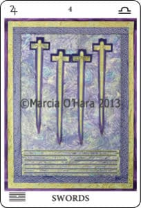 four gold swords on purple background