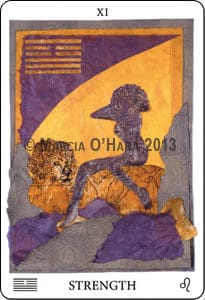 Purple silhouette of woman on gold lion
